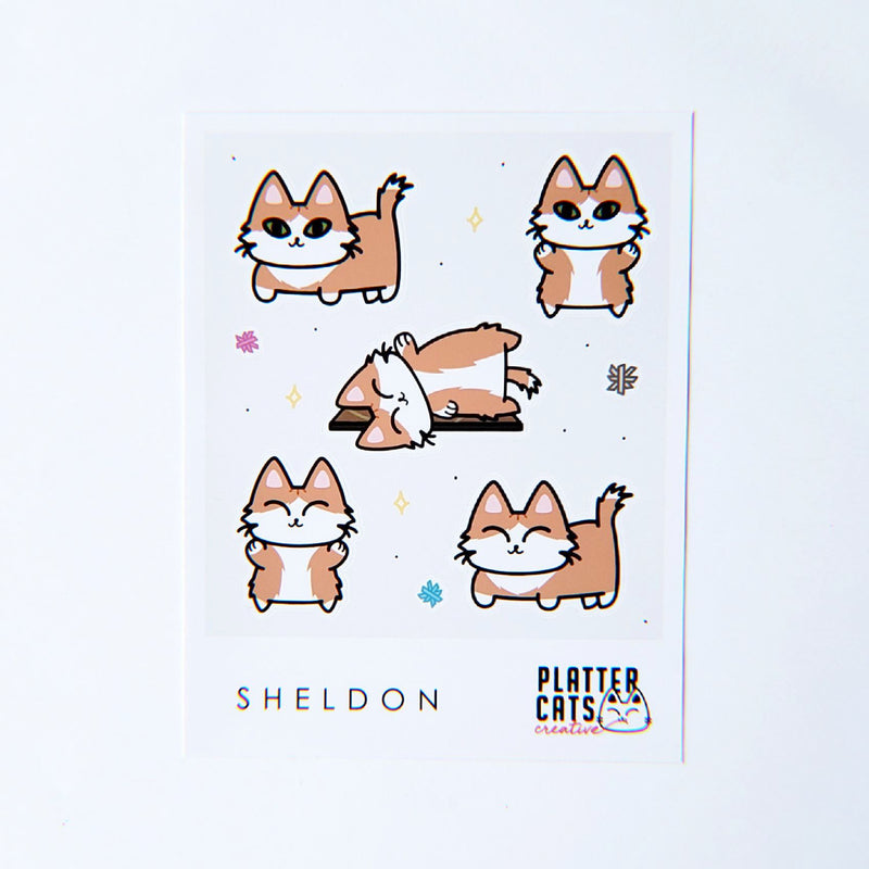Custom Sticker Sheet & Pack + Framed 4x4 Print of a Kitty from the Sheet - PlatterCats Creative