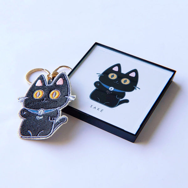 Custom Keychain + Framed 4x4 Print of the Keychain Art - PlatterCats Creative