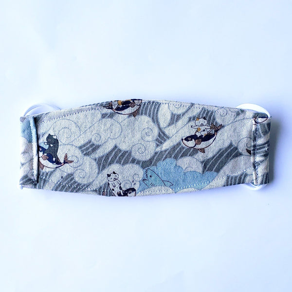 LIMITED EDITION - Surfing Ocean Wave Kitties in Gray - Handmade Origami Face Mask - PlatterCats Creative