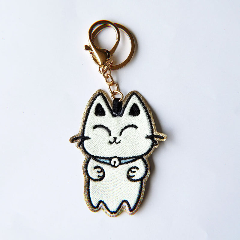 Ghost Kitty - Glow in the Dark - Embroidered Keychain - PlatterCats Creative