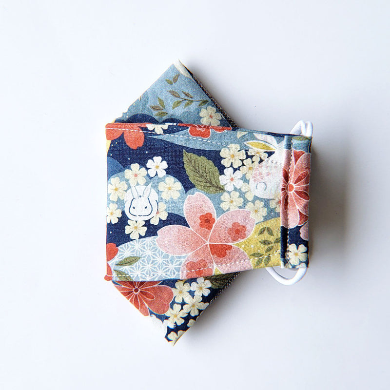 Handmade Origami Face Mask - White Rabbits with Japanese Florals on Blue - PlatterCats Creative