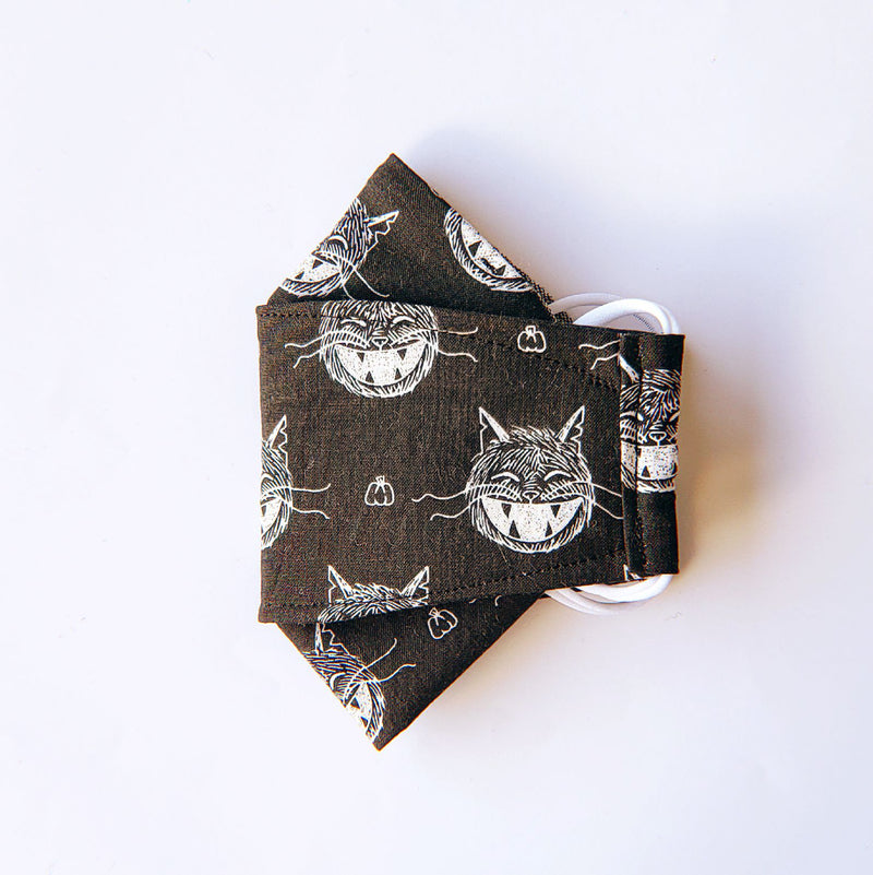 Handmade Origami Face Mask - Spooky Cute Kitty on Black - PlatterCats Creative
