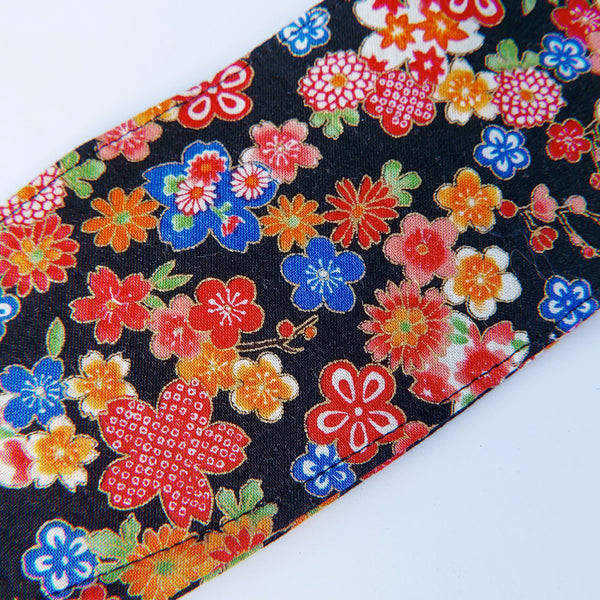 Handmade Origami Face Mask - Japanese Flowers on Black - PlatterCats Creative
