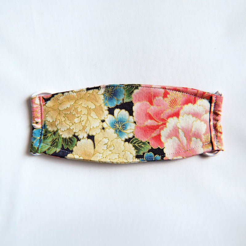 Handmade Origami Face Mask - Gold Metallic Florals on Navy - PlatterCats Creative