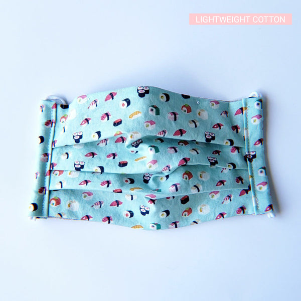 Handmade Pleated Face Mask - Cute Sushi on Turquoise - PlatterCats Creative
