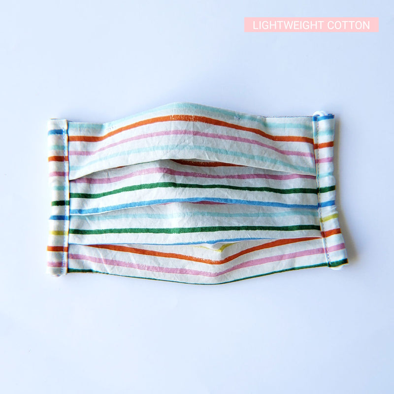 Handmade Pleated Face Mask/Cover - Rainbow Stripes on White