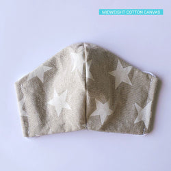 Handmade Fitted Face Mask - White Stars on Tan - PlatterCats Creative
