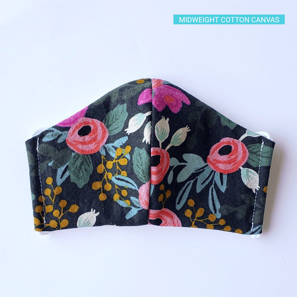Handmade Fitted Face Mask - Pink Roses on Navy - PlatterCats Creative