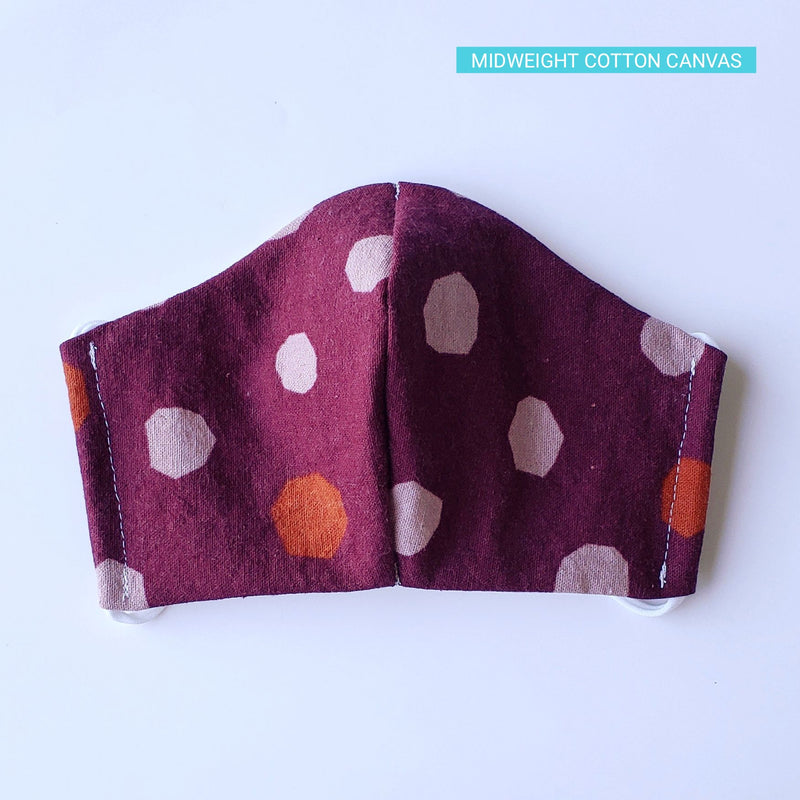 Handmade Fitted Face Mask - Polka Dots on Dark Berry