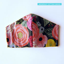 Handmade Fitted Face Mask - Flower Burst on Black - PlatterCats Creative