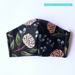 Handmade Fitted Face Mask - Peonies on Dark Navy/Black - PlatterCats Creative