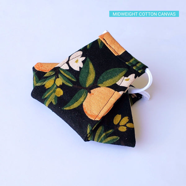 Handmade Origami Face Mask - Citrus Floral Orange on Black - PlatterCats Creative