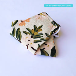 Handmade Origami Face Mask - Citrus Floral Orange on Sand - PlatterCats Creative