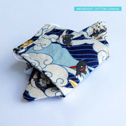 LIMITED EDITION - Surfing Ocean Wave Kitties in Blue - Handmade Origami Face Mask - PlatterCats Creative