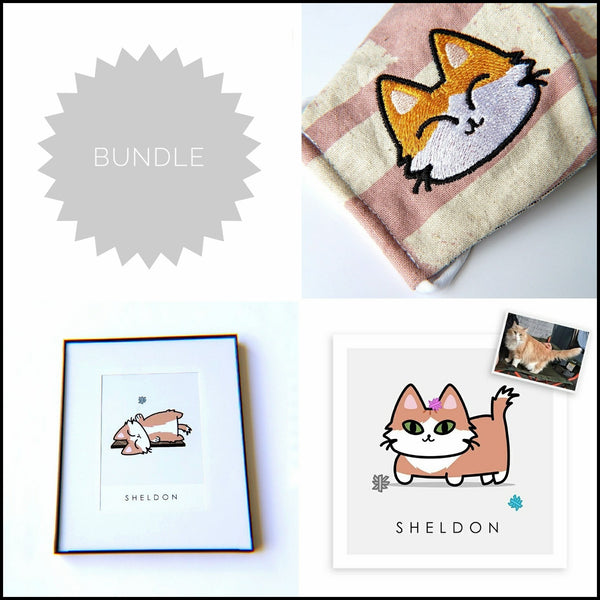 BUNDLE // Custom Kitty Portrait + 8x10 Frame + Embroidered Mask - PlatterCats Creative