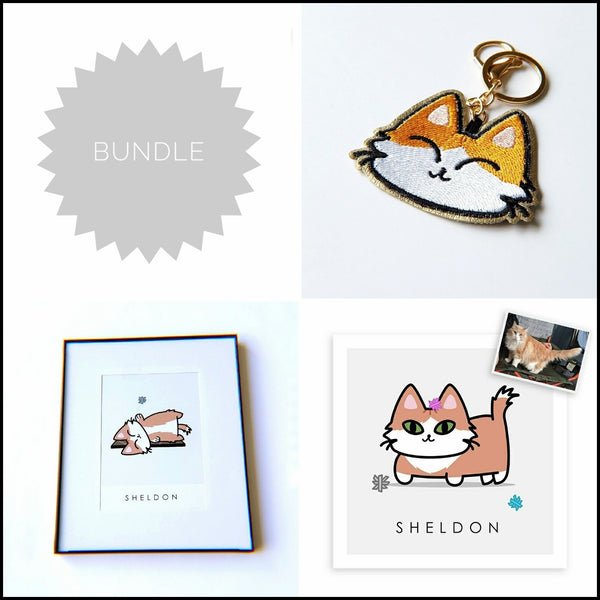 BUNDLE // Custom Kitty Portrait + 8x10 Frame + Keychain - PlatterCats Creative