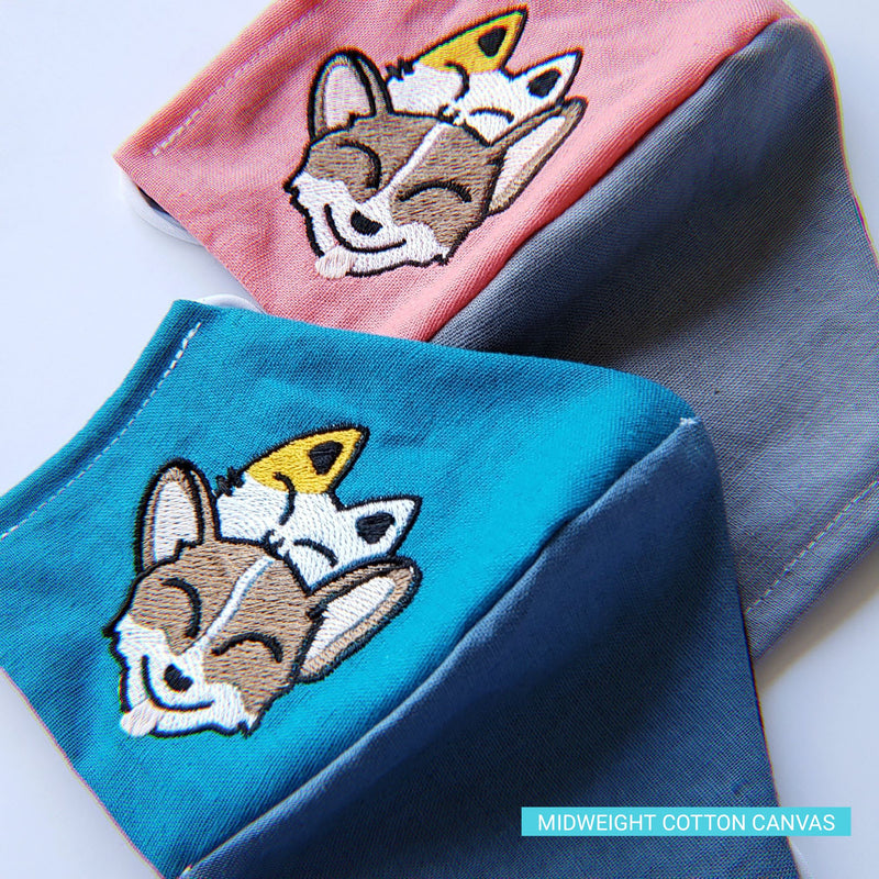 Special Edition - Corgi + Kitty Stack (Multiple Colors Available) - Handmade Fitted Face Mask - PlatterCats Creative
