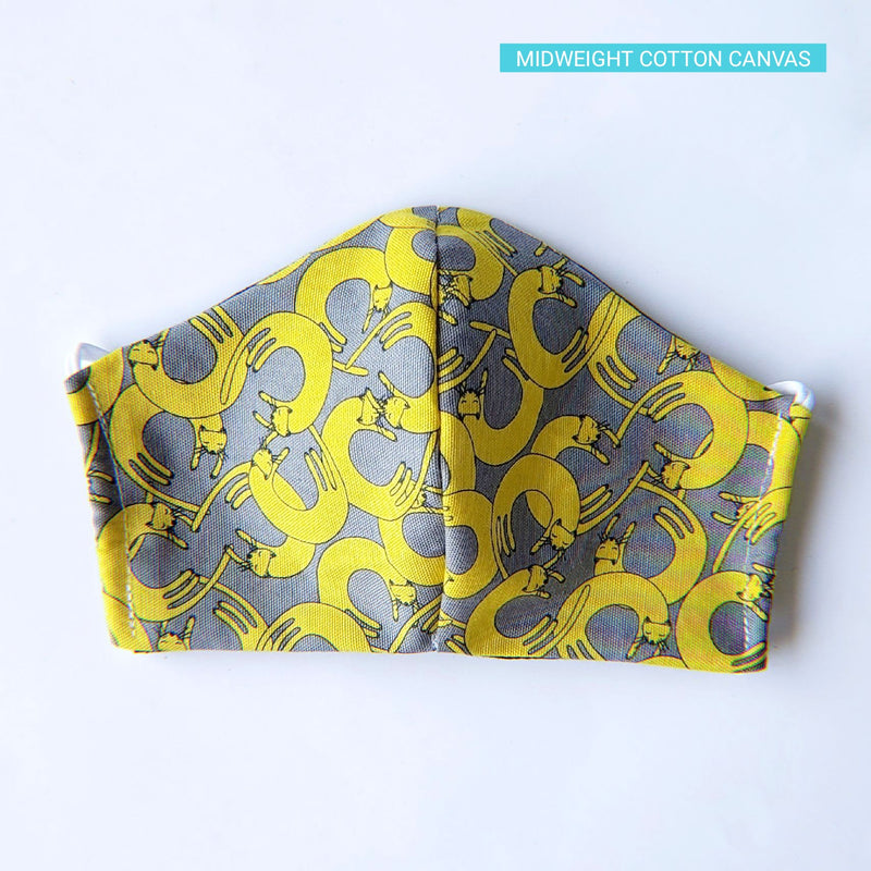 Handmade Fitted Face Mask - Yellow Circle Cats on Gray - PlatterCats Creative