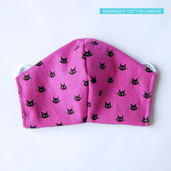 Handmade Fitted Face Mask - Black Kitty on Magenta/Purple - PlatterCats Creative