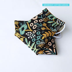 Handmade Origami Face Mask - Metallic Pastel Meadow on Black - PlatterCats Creative