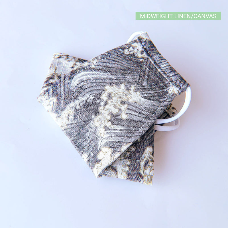 Handmade Origami Face Mask - Ocean Waves on Gray - PlatterCats Creative