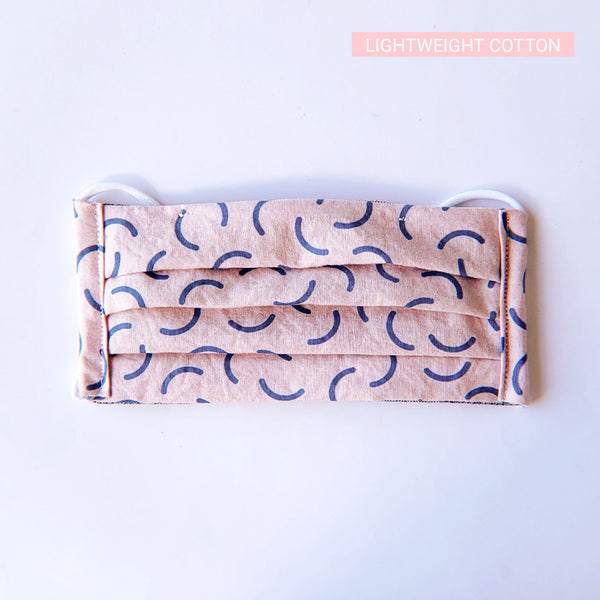 Handmade Pleated Face Mask - Cute Blue Squiggles on Pink - PlatterCats Creative