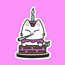 Birthday Kitty - Vinyl Sticker - PlatterCats Creative