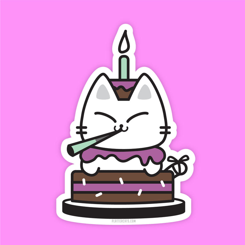 Birthday Kitty - Vinyl Sticker