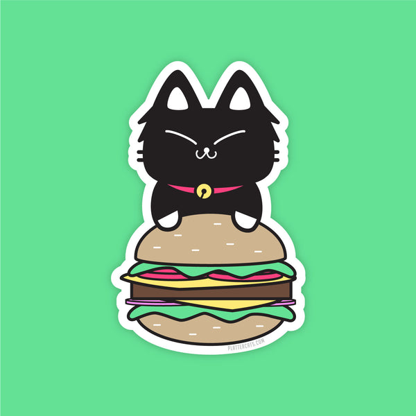 Burger Kitty - Vinyl Sticker - PlatterCats Creative