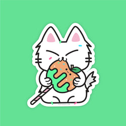 Caramel Apple Kitty - Vinyl Sticker - PlatterCats Creative