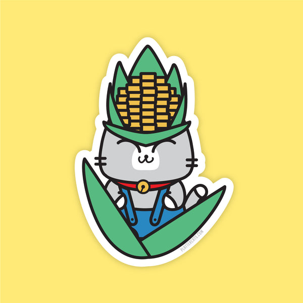 Corn on the Cobb Bob - Vinyl Sticker - PlatterCats Creative