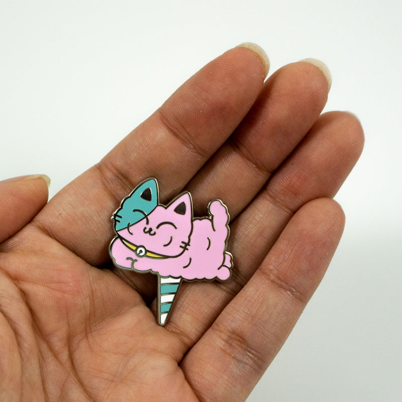 Cotton Kitty Puff Enamel Pin - PlatterCats Creative
