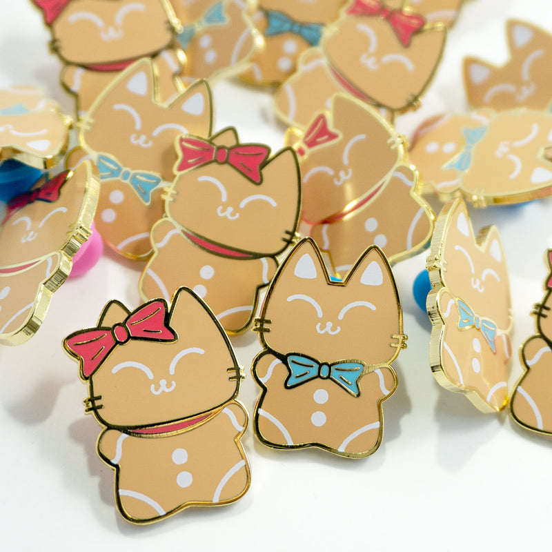 Gingerbread Kitty Pair Enamel Pins - PlatterCats Creative