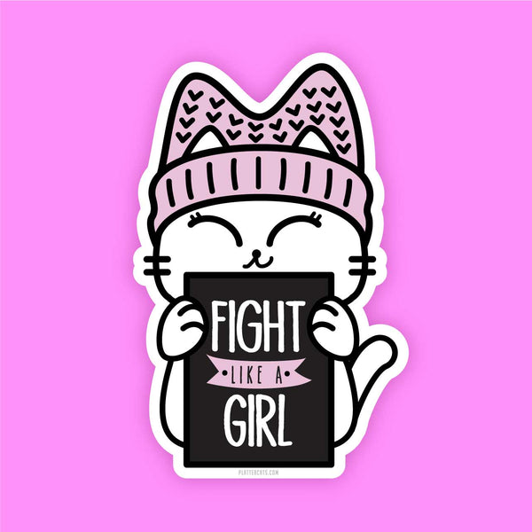 Fight Like a Kitty - Vinyl Sticker