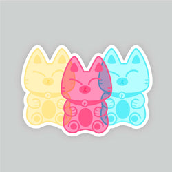Grumpy Gummy Kitties - Vinyl Sticker - PlatterCats Creative