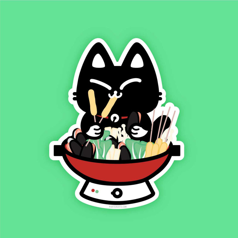 Hot Pot Kitty - Vinyl Sticker - PlatterCats Creative