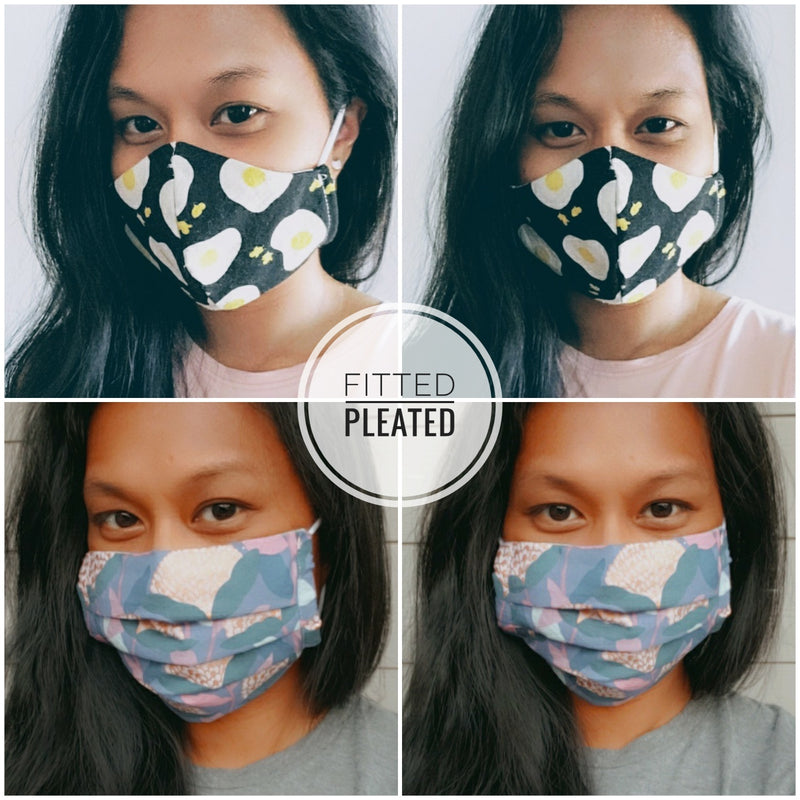 Handmade Pleated Face Mask - Garden Scribbles on White - PlatterCats Creative