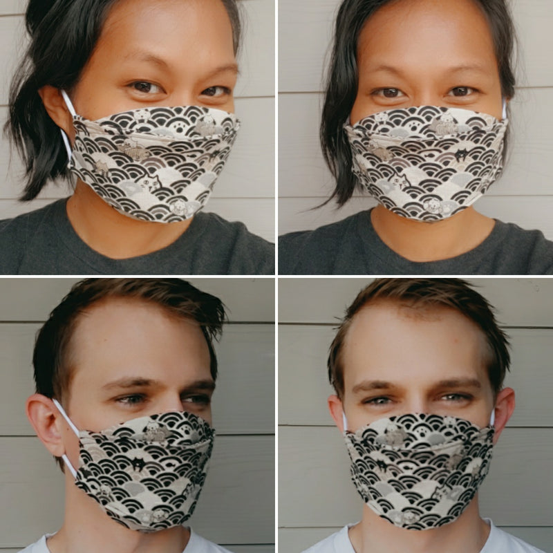 Handmade Origami Face Mask - Minimal Dots on Dark Gray - PlatterCats Creative
