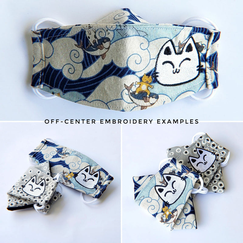 Handmade Origami Face Mask - Yellow Circle Cats on Gray - PlatterCats Creative