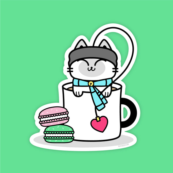 Cuppa Kitty Tea  - Vinyl Sticker - PlatterCats Creative