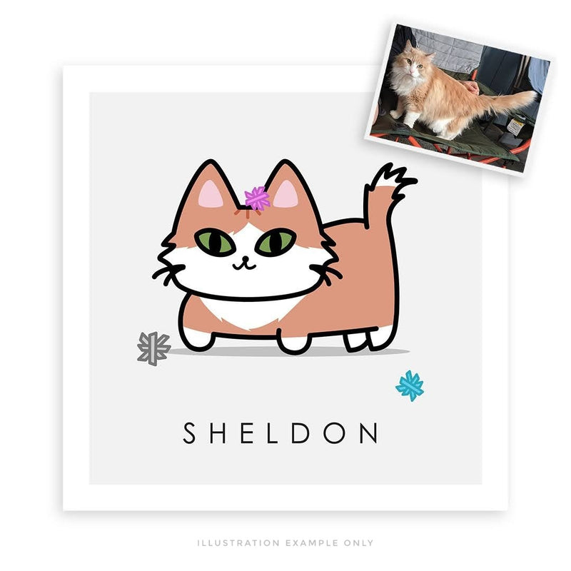 BUNDLE // Custom Kitty Portrait + 8x10 Frame + Sticker Sheet + Sticker Pack - PlatterCats Creative