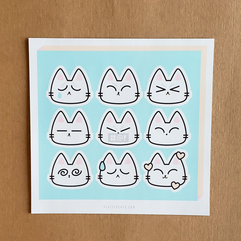 Kitty Feels - Vinyl Sticker/s or Sticker Sheet - PlatterCats Creative