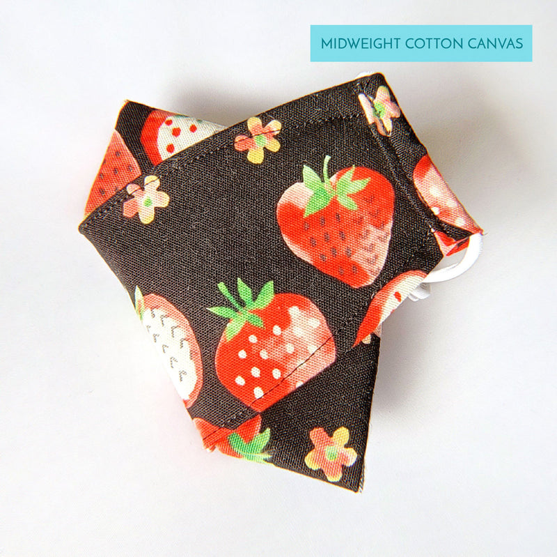 Handmade Origami Face Mask - Cute Strawberries on Black - PlatterCats Creative