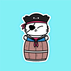 Pirate Kitty (Multiple Options) - Vinyl Sticker - PlatterCats Creative