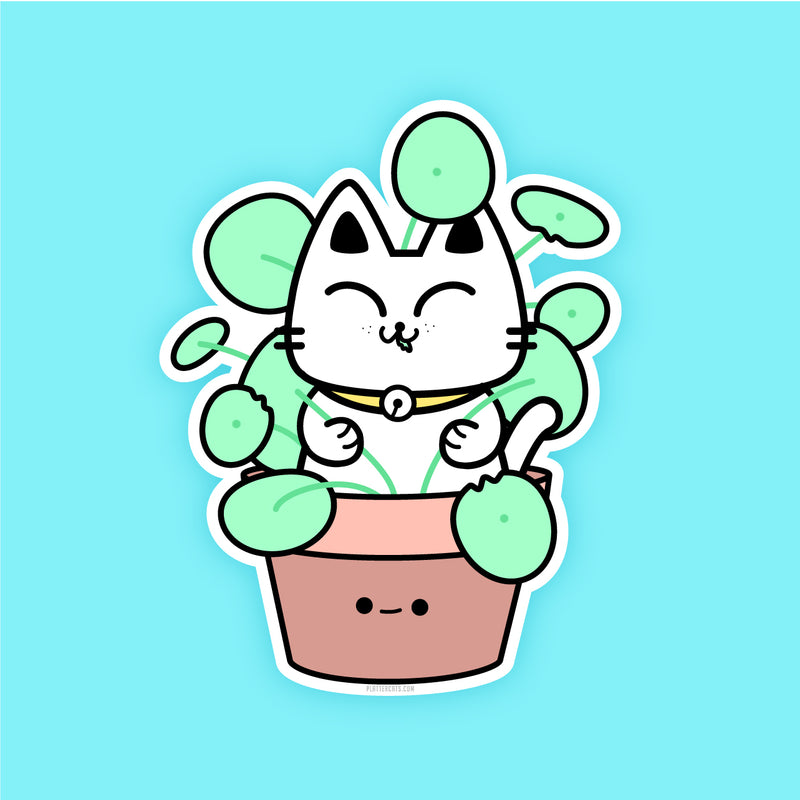 Peperomia Kitty Slayer - Vinyl Sticker - PlatterCats Creative