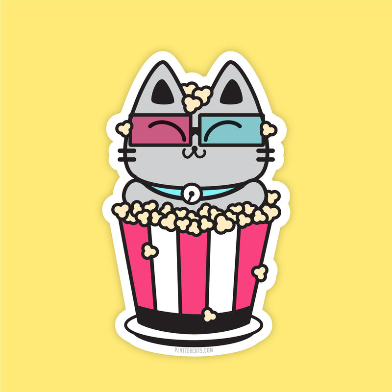 Popcorn Kitty  - Vinyl Sticker - PlatterCats Creative