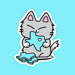 Texas Cookie Cat - Vinyl Sticker - PlatterCats Creative