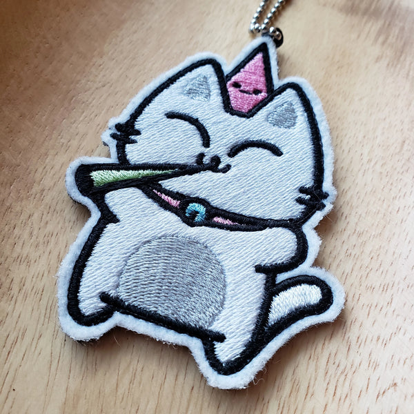 Party Cat - Embroidered Keychain or Patch