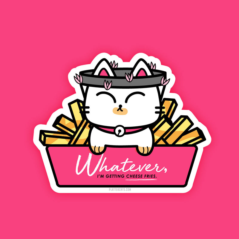 Mean Kitty Cheese Fries - Vinyl Sticker - PlatterCats Creative