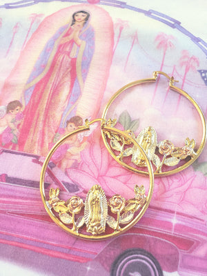 Virgencita charm around bouquet Roses Hoop Earrings. on a velvet red  fabric. Retro vintage effect.Latina Jewelry Store